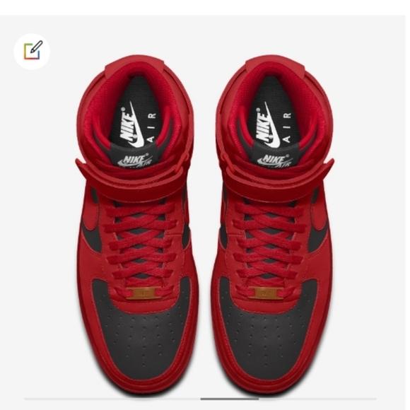 Nike Shoes Redblack Air Force 1 High Custom Poshmark